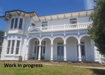 Sarjeant House renovation in process, almost completed Facade exterior painting done by Villa Services