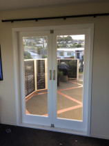 Cedar french door install by Building Detail Ltd