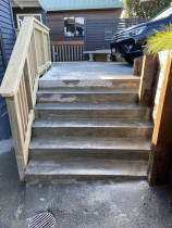 New Access After - Old rotten balustrade removed, new reinforced rebar bedded in, form new concrete stairs, new timber balustrade.
