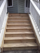 Large step renewal - Law Landscapes ltd completed this step renewal for a rental property. The steps were badly damaged and a danger hazard. The steps are built from H3.2 stringers and treads. It also has an internal H4 stringer for added strength. Its sanded and ready for a lick of paint