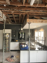 Small Renovation - Removing walls to make space for a large open plan kitchen and island bench. Replacing ceiling with new flat gib and structure beams