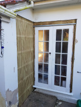Exterior plastering works - Remedy Exterior plastering works on installing new door position,