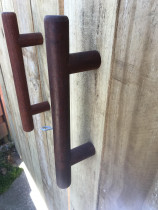 Gate handles made on lathe out of an old balustrade