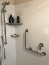 Shower shelving and handrail install