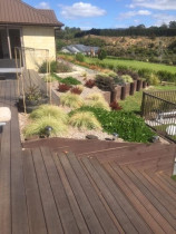 Deck, walkway and rock garden