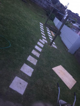 Pavers and clothesline