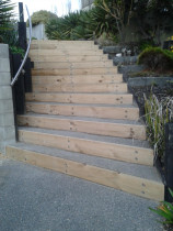 Exposed aggregate concrete steps by CN Builders