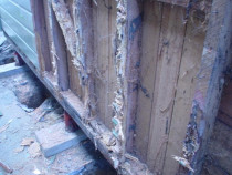 Rotten wall cavity - In the course of repiling, we find this type of decay from time to time and replace without an issue.