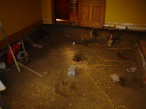 Rotten floor replacement - After taking out rotten sub-floor prior to piling and replacement of same