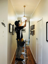 On the Job - Ben installing a pendant