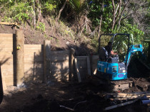 One of our retaining wall projects at Piha by AJLC Excavation