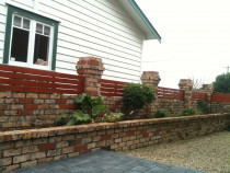 Wooden Fences - Smooth decking infills on block wall