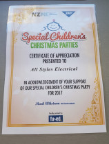 Special Childrens Christmas Party - Once again Allstyles Electrical are proud sponsors of the Special Children's Christmas Party 2017.