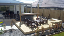 Reinforced deck for spa, shade sail and corner seating by Buildmate Limited