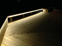 Hillcrest Deck Project by Built Rite Construction 2010 Ltd - This is the same Hillcrest Deck Project , with the L.E.D strip lighting turned on at night .