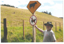 No Aussies -leave the sheep alone - Waiheke Island sign by local -since pinched so this is only recoird
