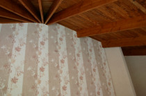 Tall papered feature walls