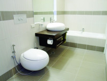 Modern bathroom - Cleanline Bathrooms Ltd - Modern design, tiles floor to wall. wall hung toilet and vanity