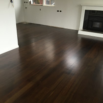 Fine sand Rimu and apply stain( Dark walnut)