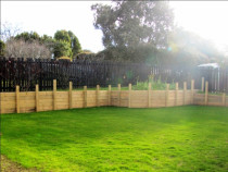 After excavation, retaining wall and lawn by Dingo Groundworx Limited - After excavation, retaining wall and lawn