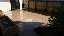 Coloured decorative concrete, grouted and sealed