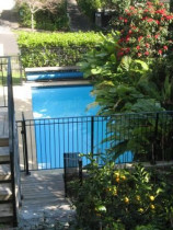 Pool paving, pool seat and planting