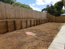 Retaining wall and fence in Patumahoe