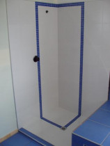 Five Star Tiling Ltd - Tiled Level Entry Shower With Contrasting Blue Mosaic