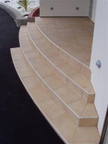 Five Star Tiling - Curved front entry steps