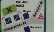Find us. - Look for the big green and blue signs.