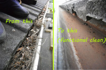 "A typical dry-debris result from Gutter Geeks Ltd - We're not after removal of every bit of debris; we do a functional clean for removal of ""all significant debris""."