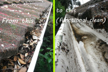 "Typical wet-debris result by Gutter Geeks Ltd - We're not after removal of every bit of debris or to enter your guttering into a beauty contest; we do a functional clean for removal of ""all significant debris""."
