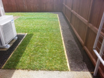 New Ready Lawn Laid Flush With New Timber Garden Edging
