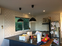 Hand made tiles installed in kitchen Johnsonville by HEK Tiling Ltd team - Client was looking for a small splash back first, after completed that then really liked it and decided to tile all the way to ceiling.