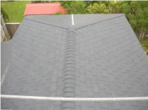 Carlisle Ecostar - Polymeric slate tiles in Seatoun Wellington. Stailess steel flashings over 17mm h3 ply substrate