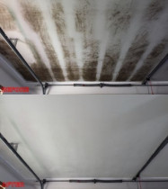 Ceiling mould steam clean before and after Hot & Steamy Carpet Cleaning and Pest Control Ltd - This garage ceiling was filthy with car fumes and also heavy mould. We managed to steam clean and sanitise the surface using our specialist industrial steam machine with no nasty chemicals. 100% environmentally friendly solution!