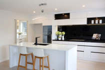 Jag Kitchens - Clean lines, sophistication and class. Read about this kitchen make-over in our case study here: https://www.jagkitchens.co.nz/striking-kitchen-makeover-gives-fresh-start/