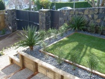 Mt Eden - Timber retaining, steps & path, planting, garden lighting.