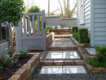 Grey Lynn - Paved stepping stone path, brick garden walls, sunken courtyard, planting