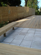 Torbay - Timber deck, concrete paving, screen fence, timber bench seat, planting