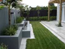 Mt Eden - Solid concrete water feature, concrete paving, lawn installation, planting