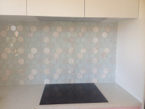 Glass and marble hexagonal by Just Splashbacks - Female Tiler