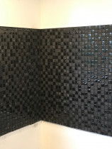 Black gloss and matt mosaic - stunning result by Just Splashbacks - Female Tiler