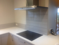 Large striped splashback for added effect by Just Splashbacks - Female Tiler