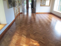 oak parquet sanded stained and finished in satin - Mikes Floor Sanding - After