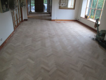 oak parquet sanded stained and finished in satin - Mikes Floor Sanding - Before
