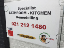 Site sign outside one of our Builders jobs who we work in with & recommend for Bathroom Renovations