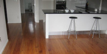 Rimu satin polyurethane on the old kitchen floor - Moisture cured polyurethane