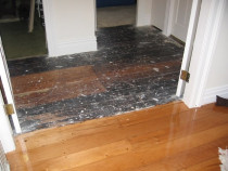 Kauri Gloss polyurethane - Before and after old kauri floor