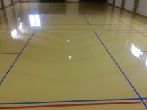 Painted Floor - Painted Blockout Particle Board floor with Moisture cured polyurethane gloss finish in a School Hall floor